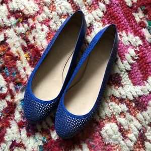 J Crew Nora Perforated Blue Ballet Flat